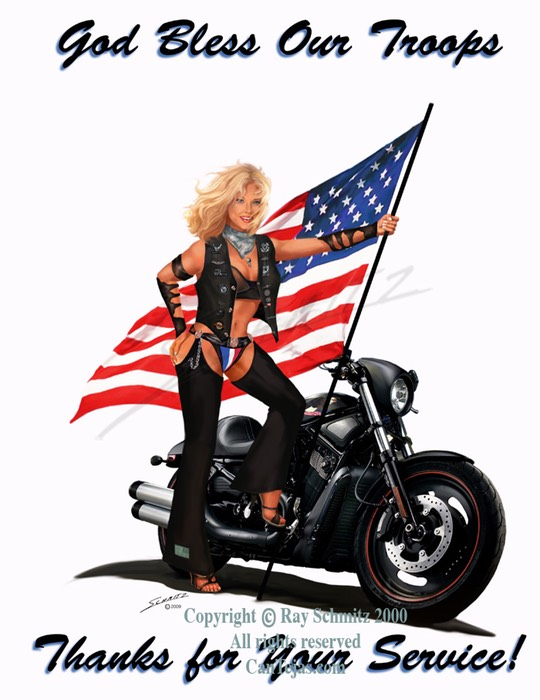 God Bless Our Troops, flag, pinup, biker babe